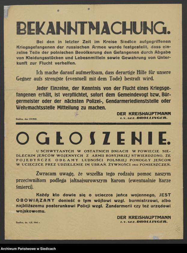 """Obraz 10 z kolekcji """"Afisze okupacyjne powiatu siedleckiego 1939-1944"""""""