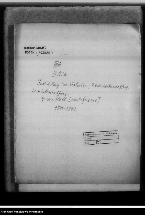 """Obraz z jednostki """"Feststellung von Verlusten, Wiederherbeischaffung, Ersatzbeschaffung. Gnesen-Stadt [miasto Gniezno]"""""""