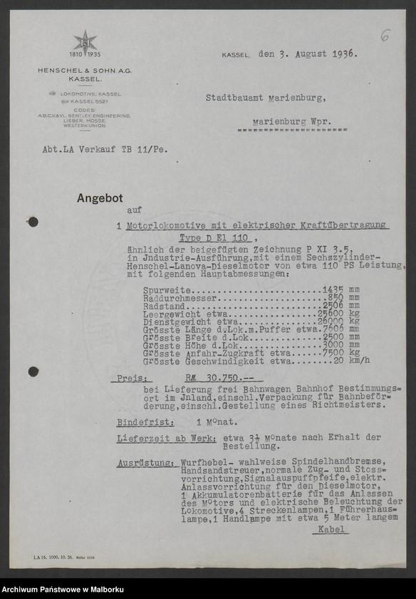 """Obraz 9 z jednostki """"Lokomotivbedarf [Przetarg na zakup lokomotywy elektrycznej Typ D El 110 Dokumentacja firmy Henschel und Sohn AG w Kassel]"""""""