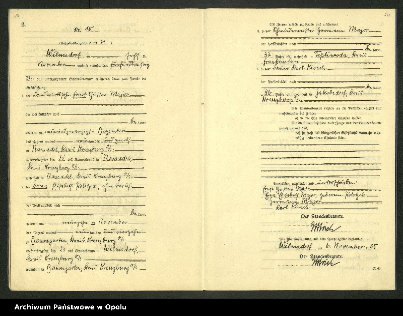 "Obraz 13 z jednostki ""Heirats-Register (Neben-Register) Standesamt Wilmsdorf Kreis Kreuzburg O/S 1935 vol.61 No. 1 bis 12"""