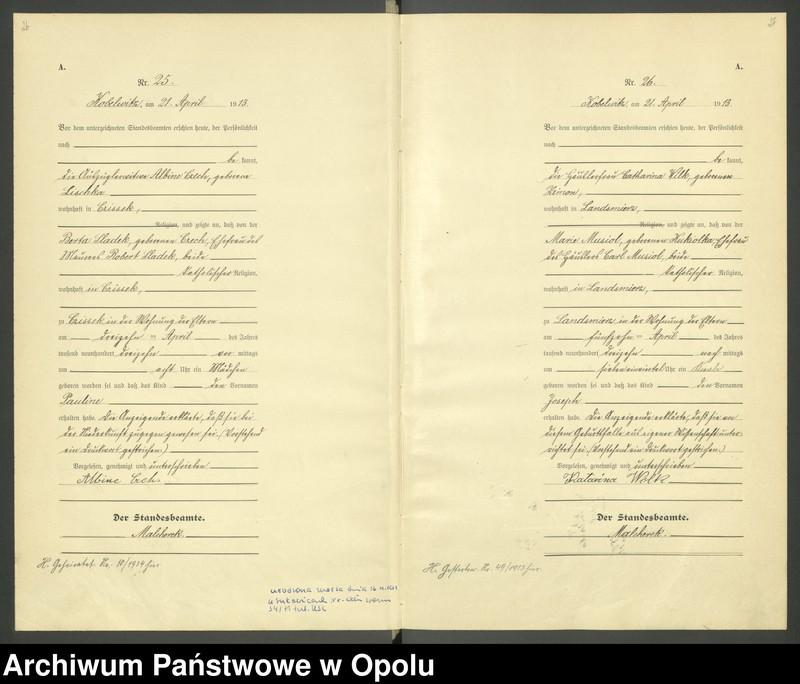 """Obraz 16 z jednostki """"Urząd Stanu Cywilnego Kobylice Księga Urodzeń Rok 1913"""""""