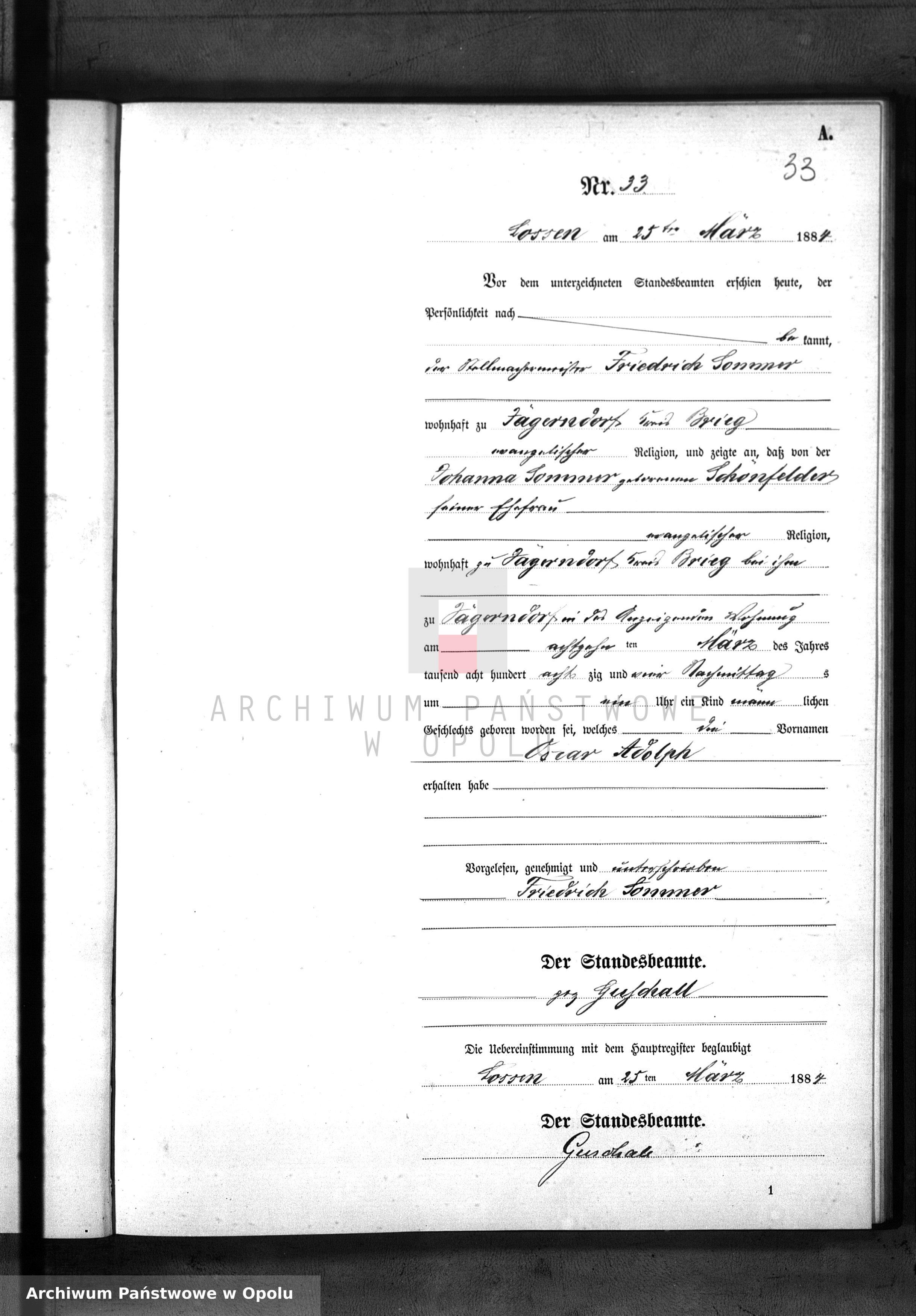 Skan z jednostki: Geburts-Neben-Register Standes-Amt Lossen 1884