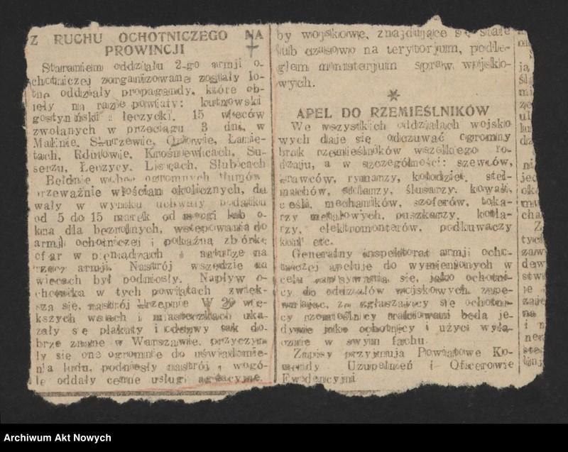 """Obraz 9 z jednostki """"Walki Armii Ochotniczej pod Warszawą. Wycinki prasowe."""""""