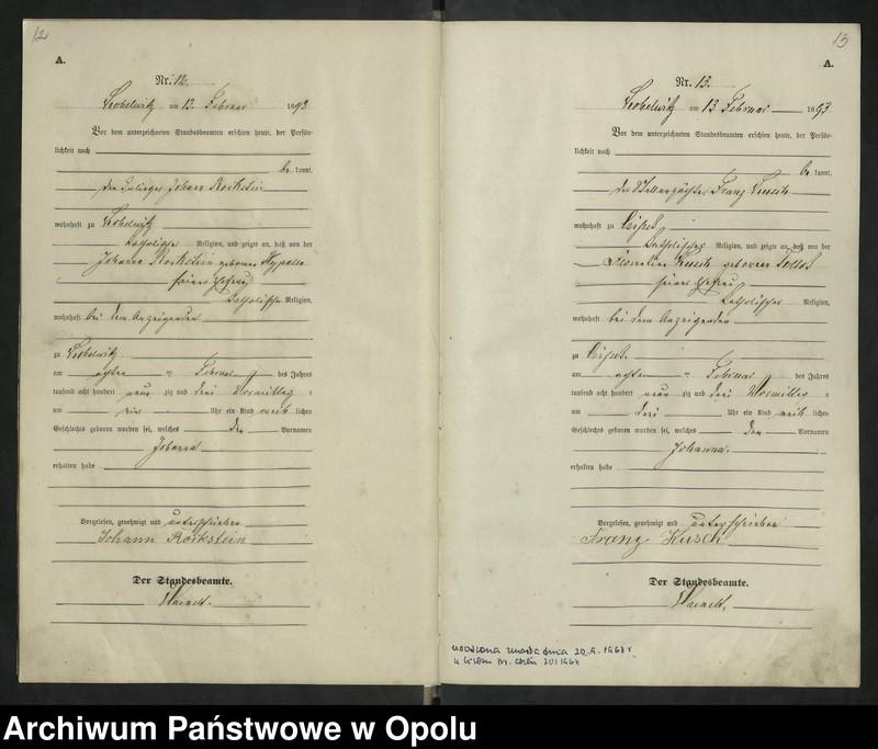 """Obraz 10 z jednostki """"Urząd Stanu Cywilnego Kobylice Księga urodzeń rok 1893"""""""