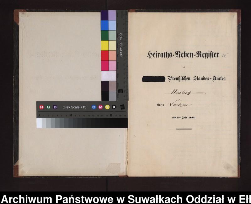 """Obraz z jednostki """"Heiraths-Neben-Register des Preussischen Standes-Amtes Neuhoff Kreis Loetzen"""""""