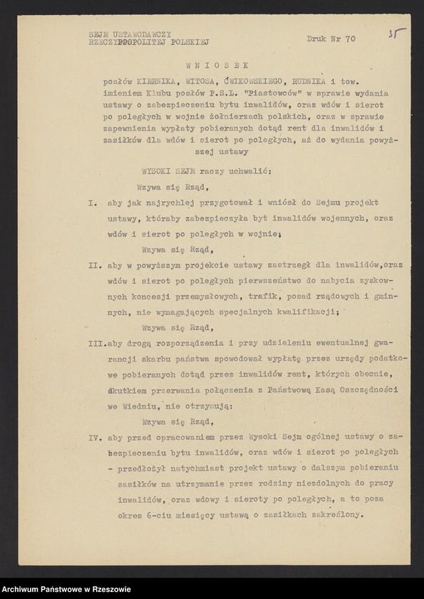 """Obraz 15 z kolekcji """"Niepodległa Polska 1918-1920 w zbiorach AP Rzeszów"""""""