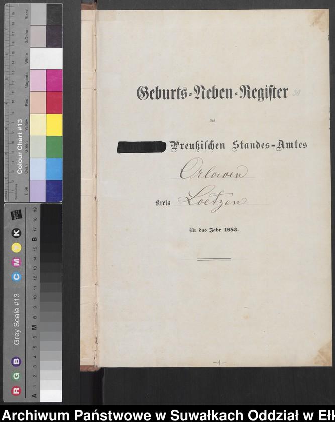 """image.from.unit """"Geburts-Neben-Register des Preussischen Standes-Amtes Orlowen Kreis Loetzen für das Jahr 1883"""""""