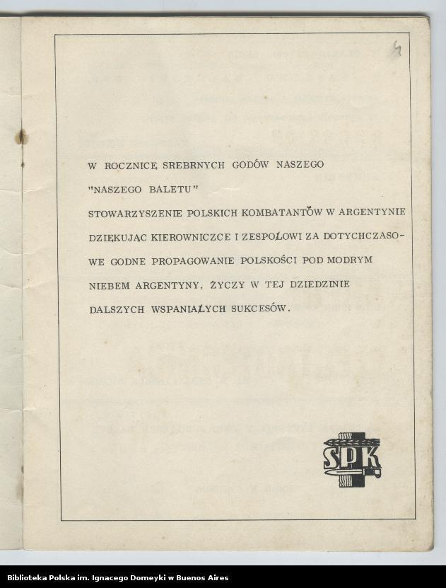 """Obraz 3 z kolekcji """"Nasz Balet 1949-1974 z Biblioteki Polskiej im. Domeyki w Buenos Aires"""""""