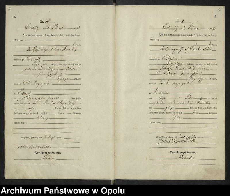 """Obraz 9 z jednostki """"Urząd Stanu Cywilnego Kobylice Księga urodzeń rok 1893"""""""