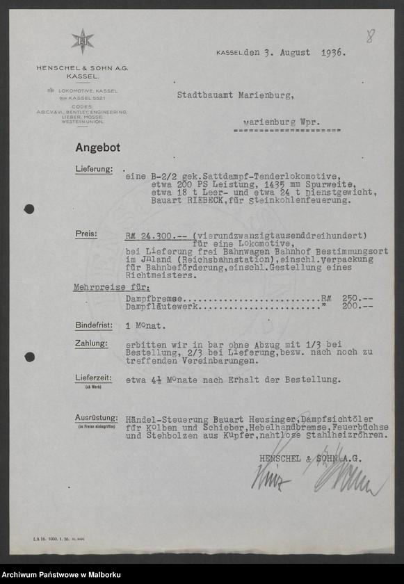 """Obraz 11 z jednostki """"Lokomotivbedarf [Przetarg na zakup lokomotywy elektrycznej Typ D El 110 Dokumentacja firmy Henschel und Sohn AG w Kassel]"""""""