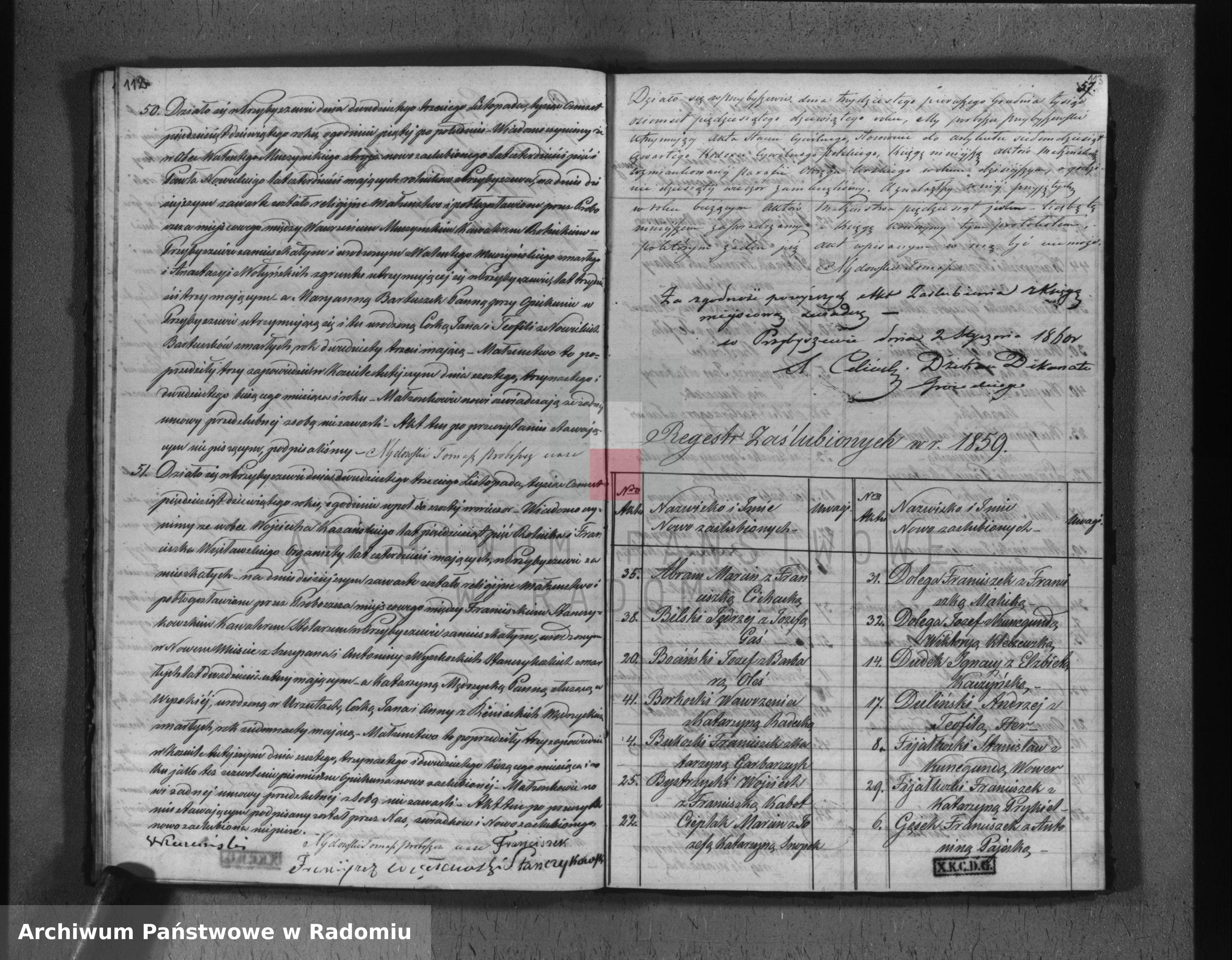 Skan z jednostki: Duplikat akt urodzonych, zaślubionych i zmarłych na rok 1859 w parafii Przybyszewskiej