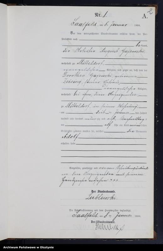"""Obraz z jednostki """"Geburts-Neben-Register Nr 1 - 56"""""""