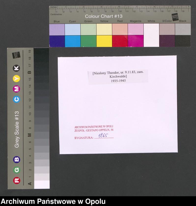 """Obraz 2 z jednostki """"[Nieslony Theodor, ur. 9.11.1883, zam. Kirchwalde]"""""""