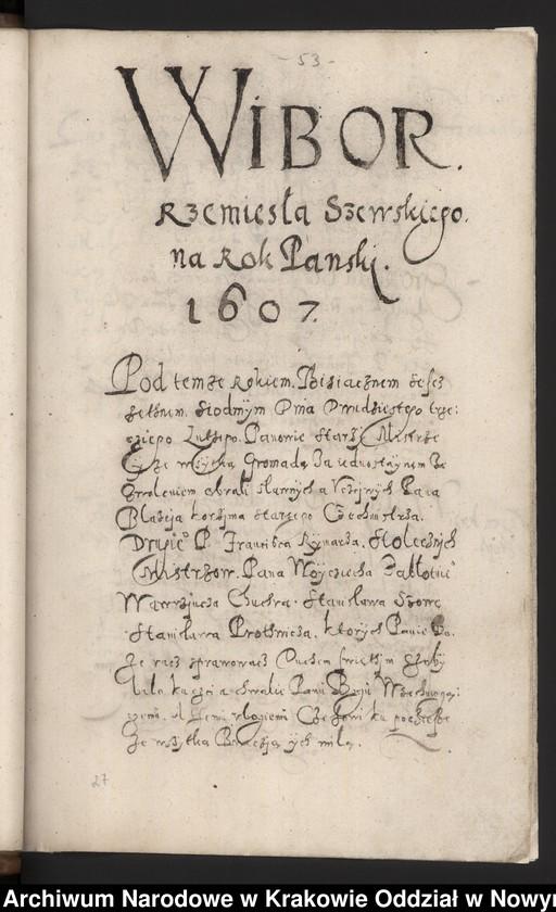 """Obraz 5 z kolekcji """"Fragment księgi cechu szewskiego w Starym Sączu z lat 1603-1709"""""""