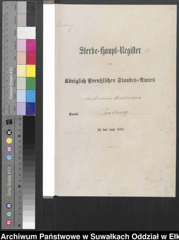 """Obraz z jednostki """"Sterbe-Haupt-Register des Königlich Preussischen Standes-Amtes Forstrevier Nicolaiken Kreis Sensburg für das Jahr 1882[do 1884]"""""""