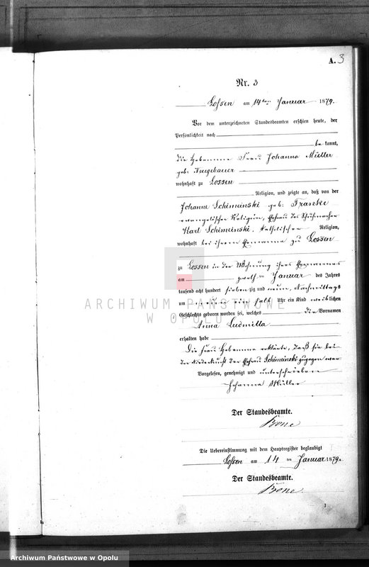 "Obraz 6 z jednostki ""Geburts-Neben-Register Standes-Amt Lossen 1879"""