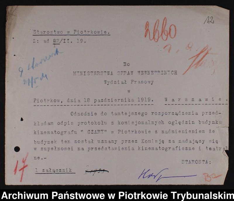 """Obraz 10 z kolekcji """"Piotrkowskie kinoteatry sprzed wieku w dokumencie archiwalnym"""""""