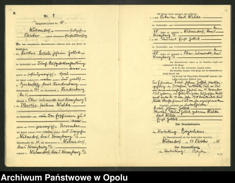 "Obraz 12 z jednostki ""Heirats-Register (Neben-Register) Standesamt Wilmsdorf Kreis Kreuzburg O/S 1935 vol.61 No. 1 bis 12"""