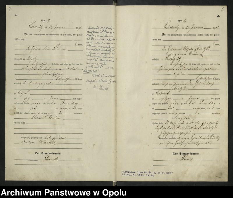 """Obraz 6 z jednostki """"Urząd Stanu Cywilnego Kobylice Księga urodzeń rok 1893"""""""