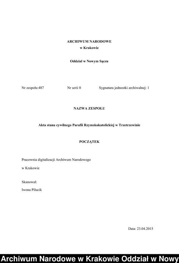 """Obraz z zespołu """"Akta stanu cywilnego Parafii Rzymskokatolickiej w Trzetrzewinie"""""""