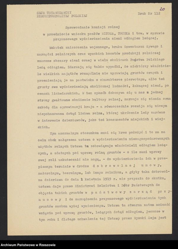 """Obraz 7 z kolekcji """"Niepodległa Polska 1918-1920 w zbiorach AP Rzeszów"""""""