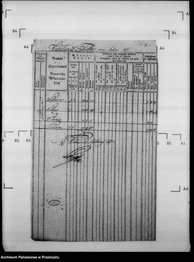 """Obraz 16 z jednostki """"Sumariusze miejscowe [spisy ludności i spisy koni dla celów wojskowych]"""""""