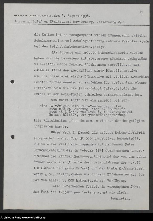 """Obraz 7 z jednostki """"Lokomotivbedarf [Przetarg na zakup lokomotywy elektrycznej Typ D El 110 Dokumentacja firmy Henschel und Sohn AG w Kassel]"""""""