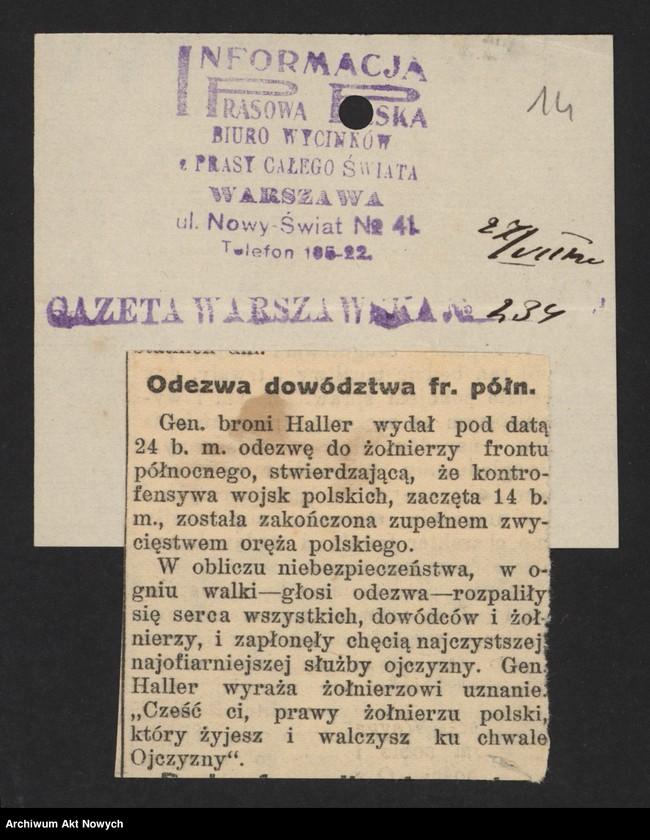 """Obraz z jednostki """"Walki Armii Ochotniczej pod Warszawą. Wycinki prasowe."""""""