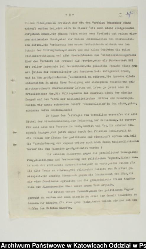 """Obraz 7 z kolekcji """"Niemiecki Komisariat Plebiscytowy Podkomisariat w Pszczynie 1919-1921"""""""