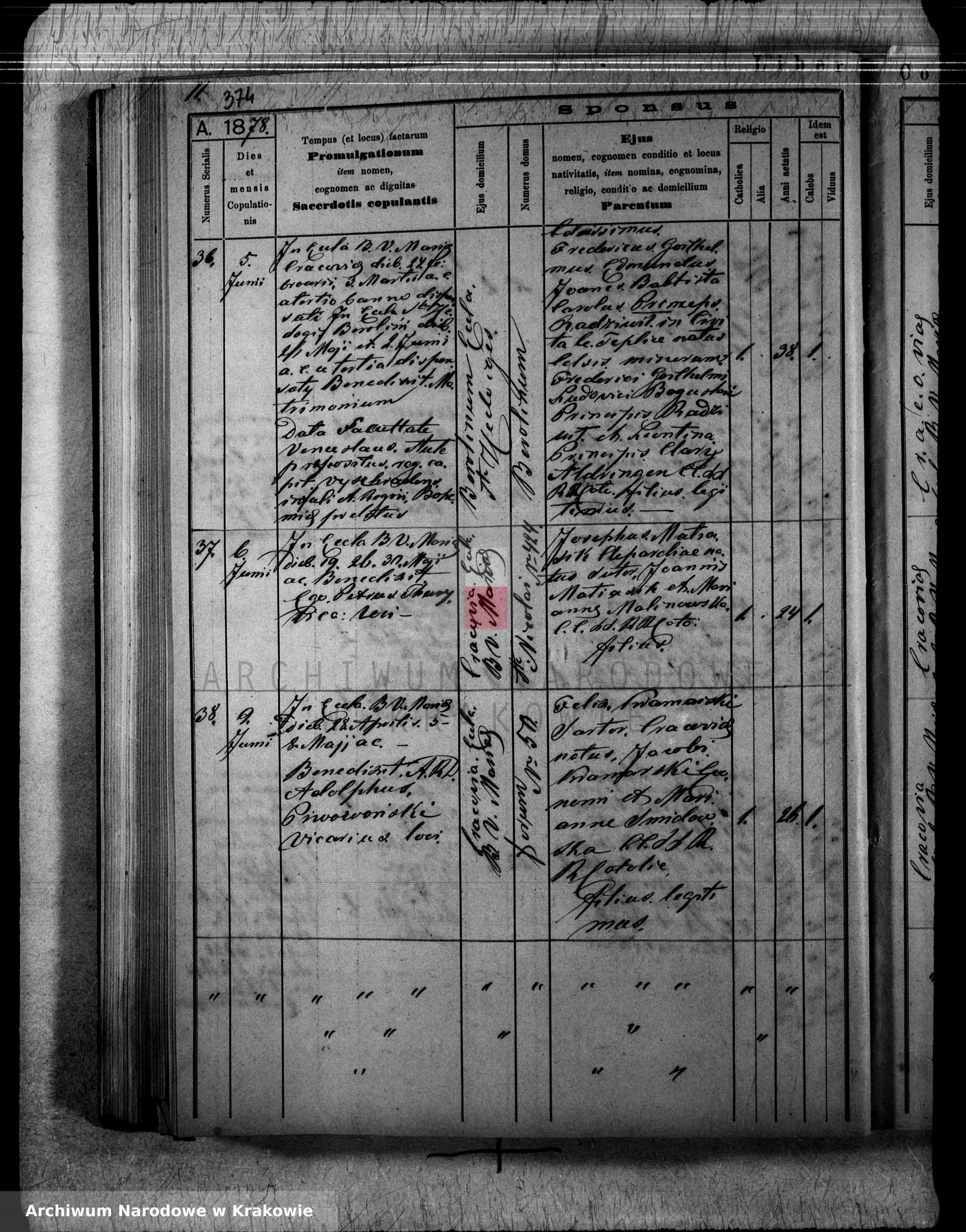 Skan z jednostki: [Księga zapowiedzi i małżeństw z lat 1873-1884]