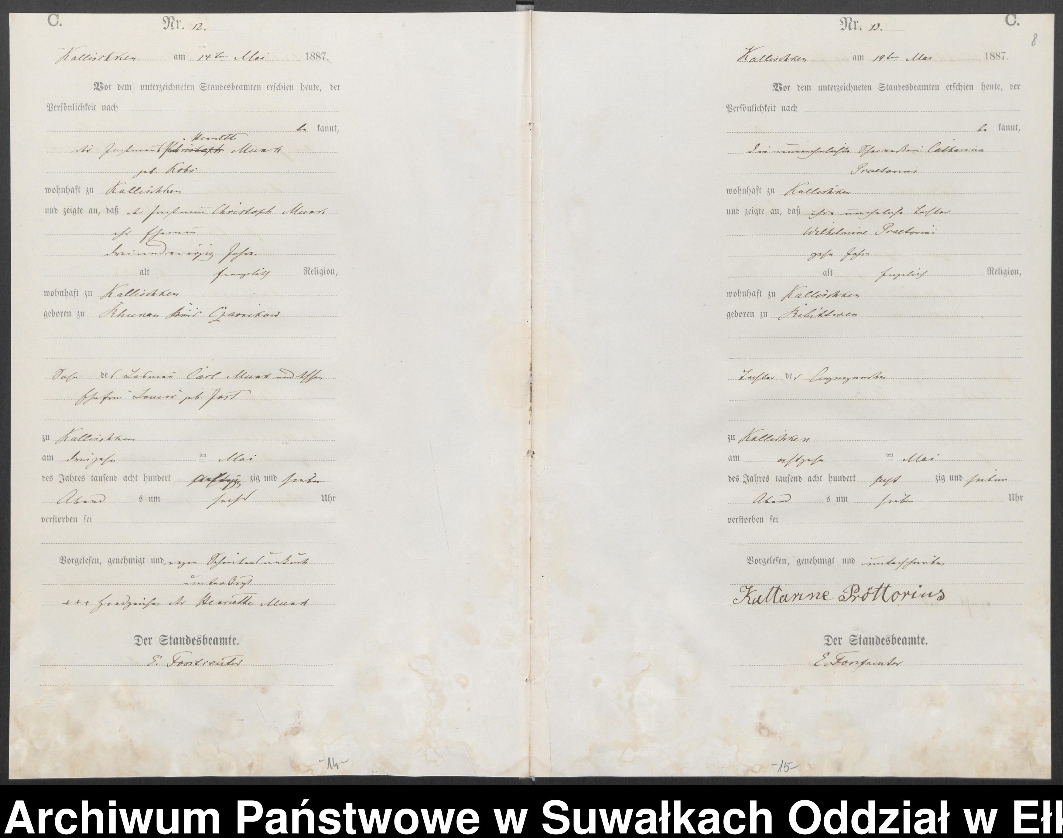 Skan z jednostki: Sterbe-Haupt-Register des Königlichen Preussischen Standes-Amtes Kallischken Kreis Johannisburg