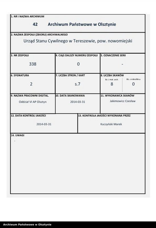 """image.from.team """"Urząd Stanu Cywilnego w Tereszewie pow. nowomiejski"""""""