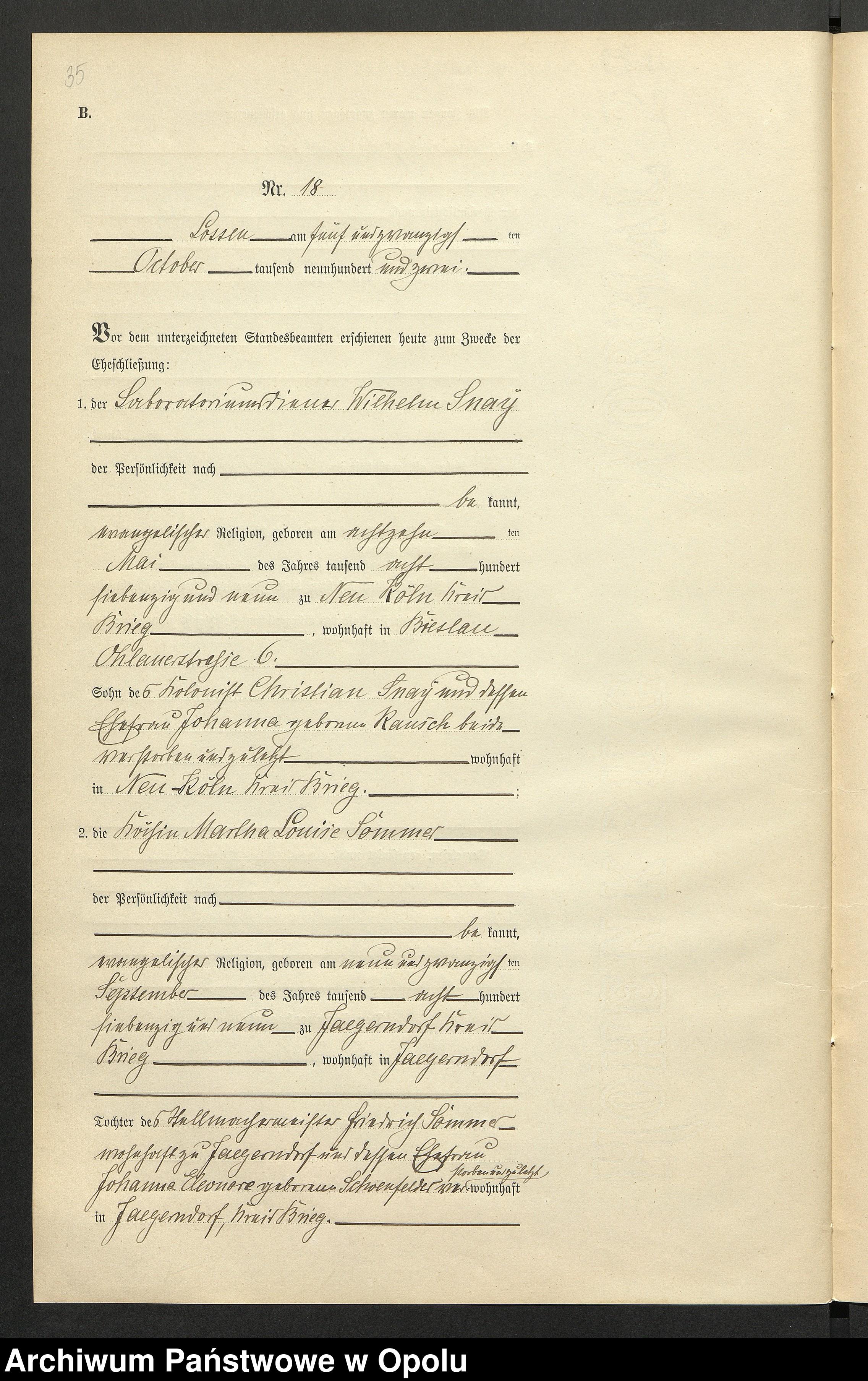 Skan z jednostki: Heiraths-Neben-Register Standes-Amt Lossen 1902