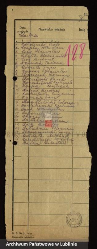 """Obraz 10 z jednostki """"[Wykazy aresztowanych członków Armii Krajowej przetrzymywanych w więzieniach w Biłgoraju, Wronkach i innych na terenie kraju oraz w ZSRR]"""""""