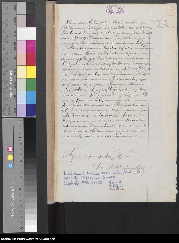 """image.from.unit """"Księga akt urodzeń, małżeństw, zgonów 1909 r. [parafii rzymskokatolickiej w Becejłach]"""""""