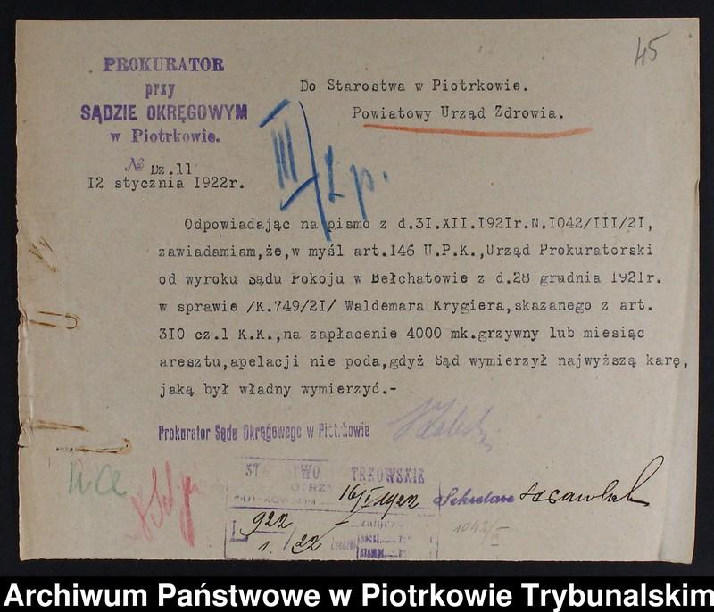 """Obraz 3 z kolekcji """"Nielegalne praktyki medyczne i znachorstwo sto lat temu. Przykład z powiatu piotrkowskiego"""""""