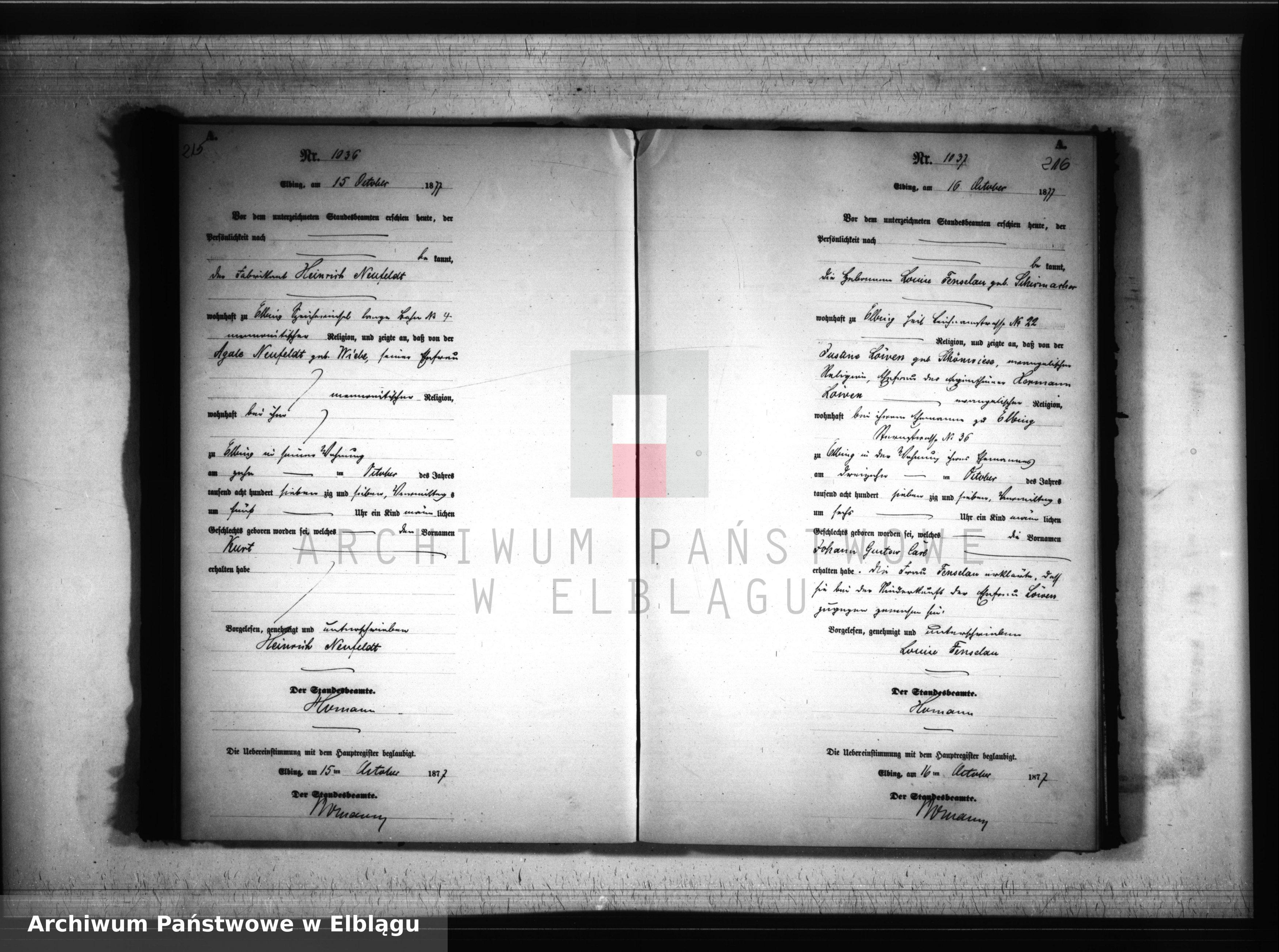 Skan z jednostki: Księga urodzeń 1877 rok