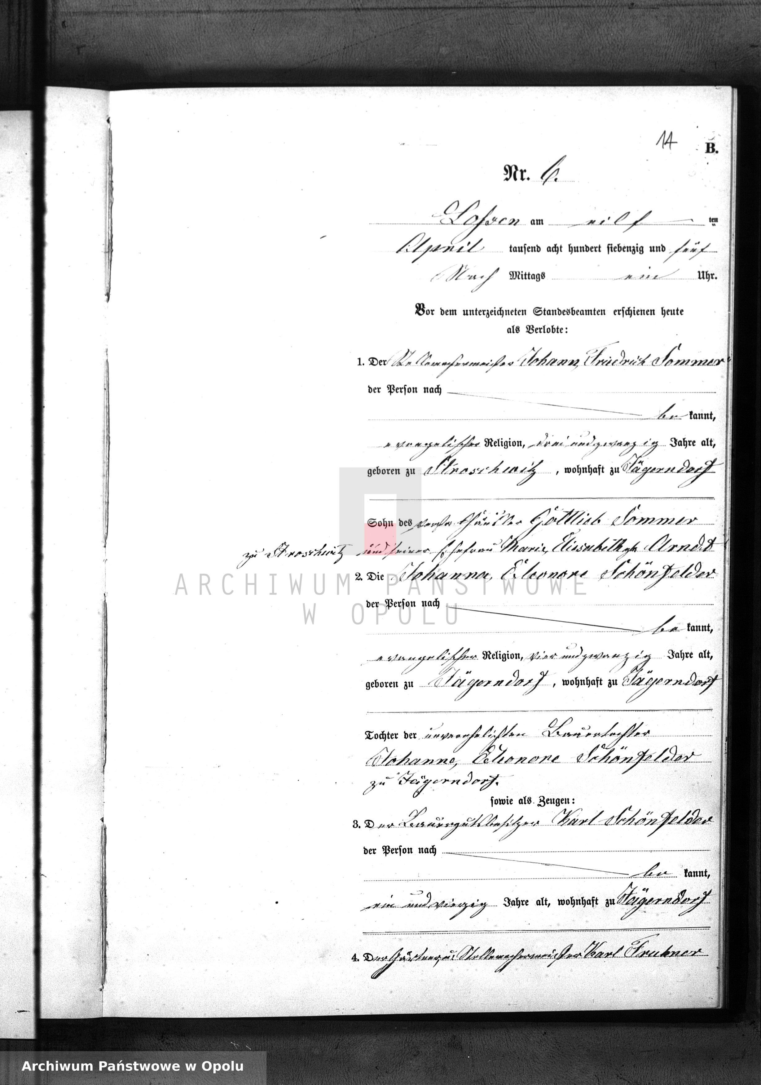 Skan z jednostki: Heiraths-Neben-Register Standes Amt Lossen 1875