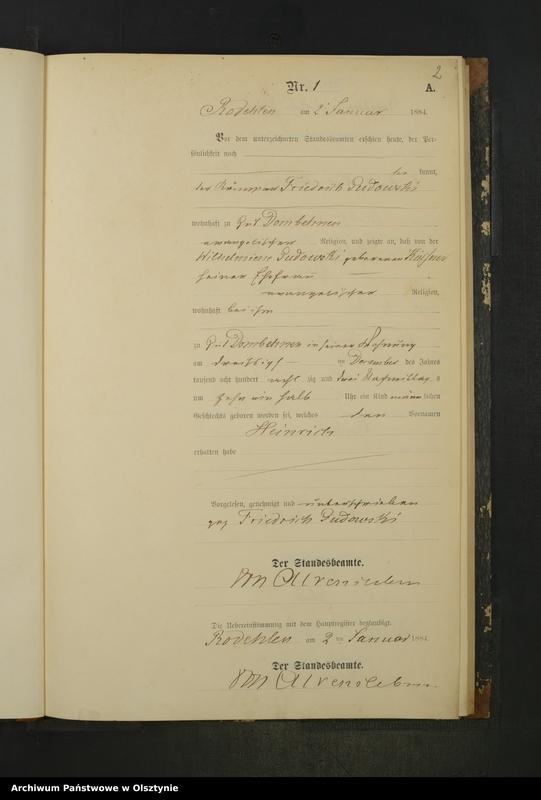 """Obraz z jednostki """"Geburts-Neben-Register Nr 1 - 21"""""""