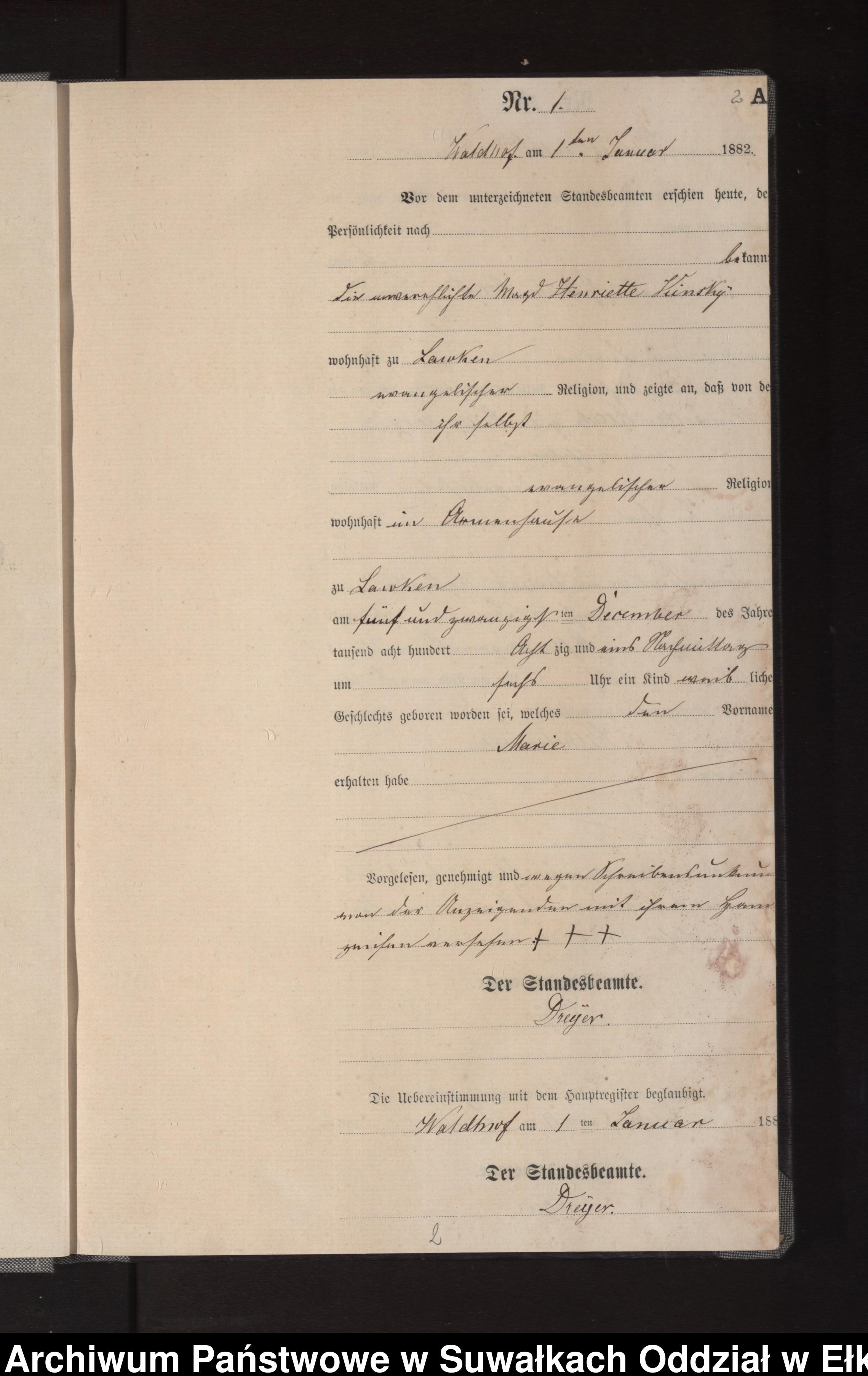 Skan z jednostki: Geburts-Neben-Register des Königlich Preussischen Standes-Amtes Orlen Kreis Loetzen