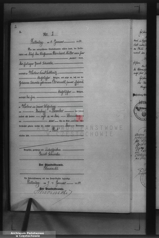 """Obraz z jednostki """"Geburts - Neben Register des Königlich Preussischen Standesamts Guttentag im Kreise Lublinitz pro 1884."""""""