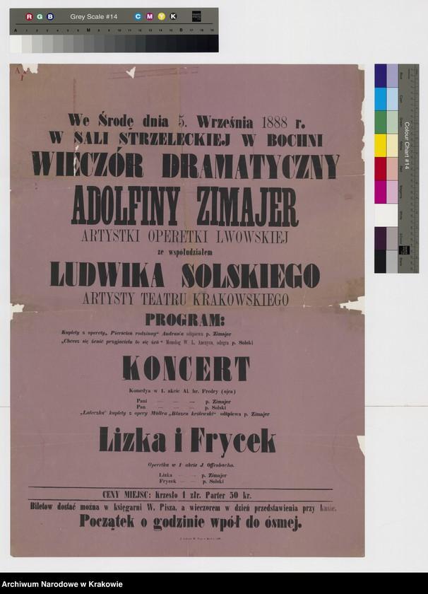 """Obraz z jednostki """"Ogłoszenie o występie A. Zimajer i L. Solskiego w Bochni."""""""