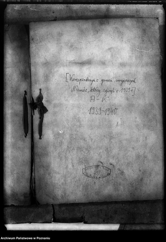 """Obraz z jednostki """"Korespondencja w sprawie miejscowych Niemców, którzy zginęli w 1939 roku A - K"""""""