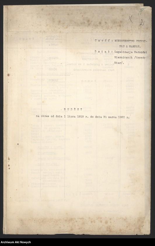 """Obraz 4 z jednostki """"[Budżet Służby Legalizacji Narzędzi Mierniczych na drugie półrocze 1919 r. i okres do 31 III 1920 r. Wyjaśnienia, zestawienia, załączniki.]"""""""
