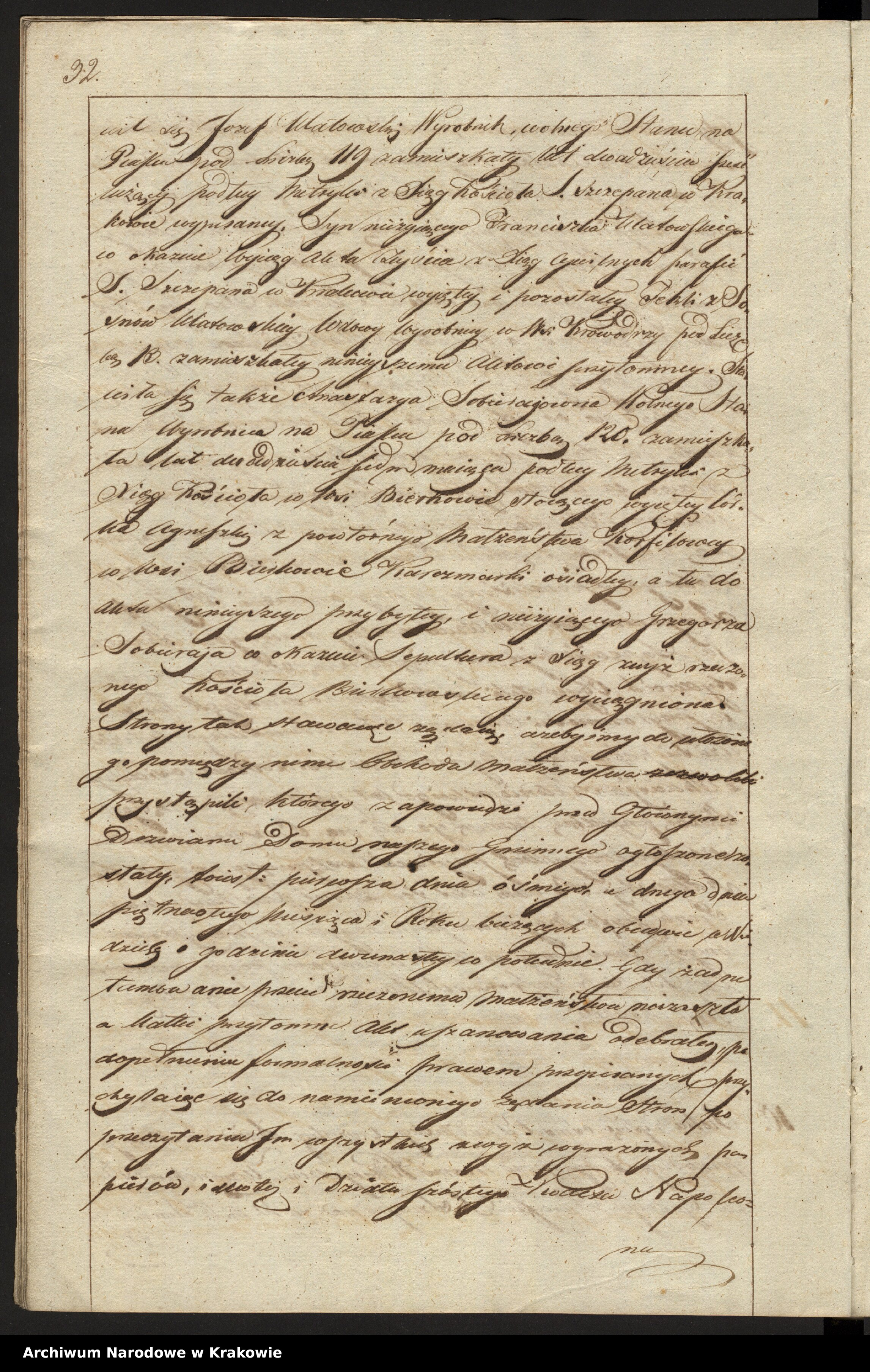 Skan z jednostki: Akta Zapowiedzi i Małżeństwa w Parafii Sgo Szczepana w Krakowie na Piasku od dnia 1go Mca Stycznia 1824