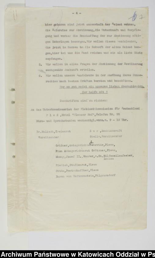 """Obraz 5 z kolekcji """"Niemiecki Komisariat Plebiscytowy Podkomisariat w Pszczynie 1919-1921"""""""