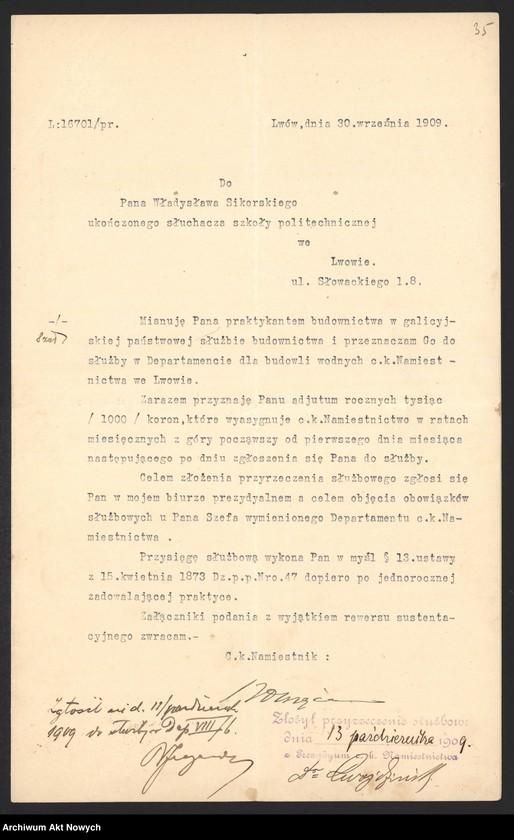 """Obraz 10 z kolekcji """"Władysław Sikorski - biografia w dokumencie archiwalnym"""""""