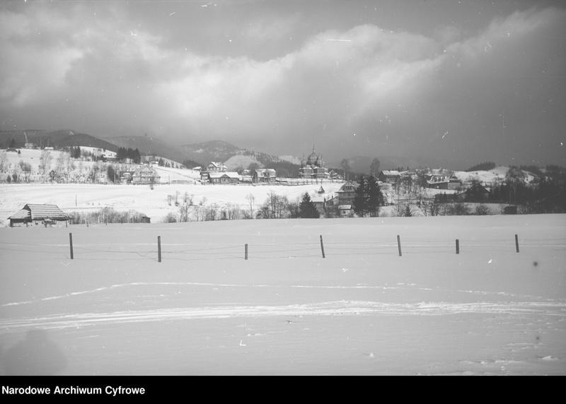 Obiekt Krajobraz huculski z widokiem na miasteczko i góry. z jednostki Huculskie typy ludowe