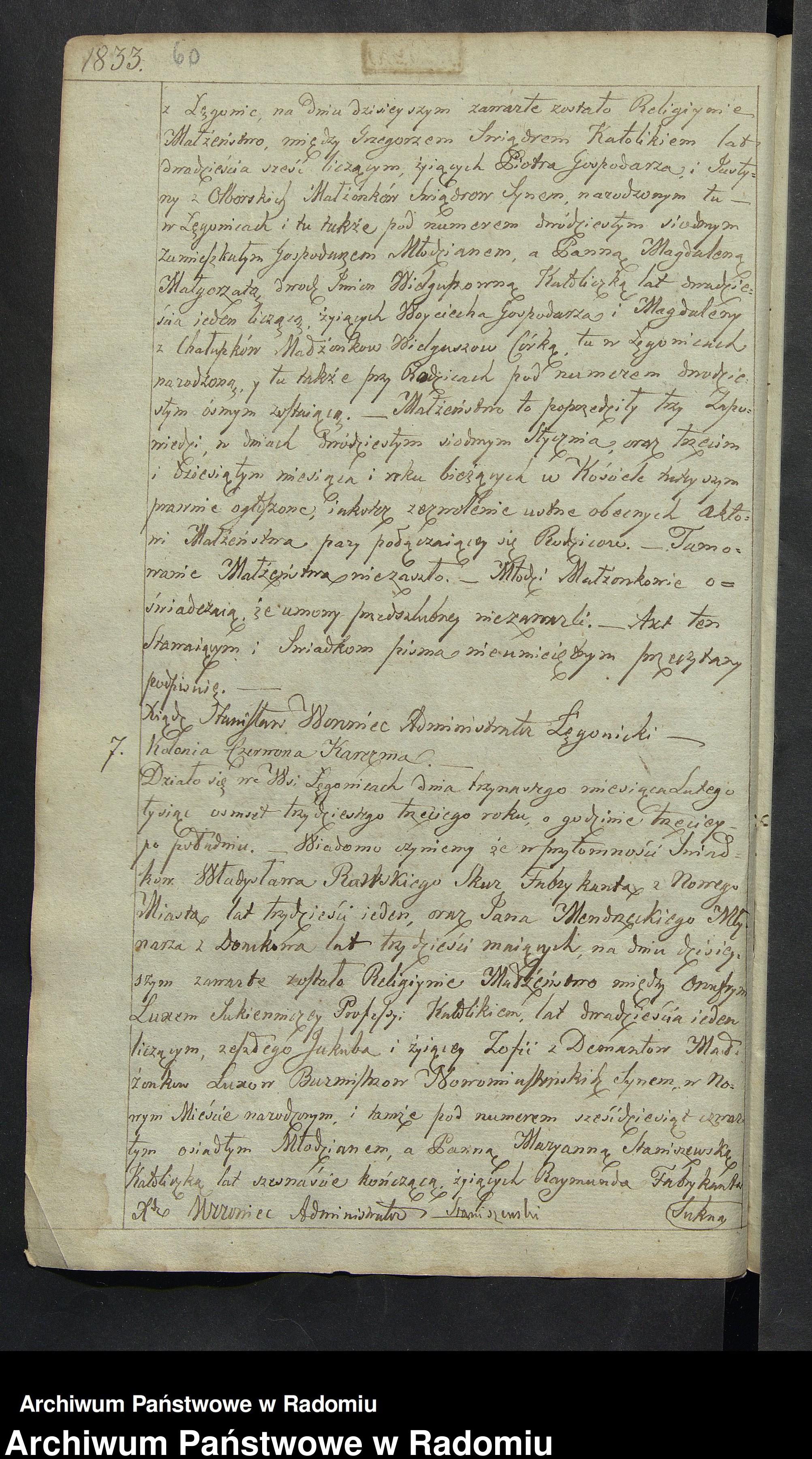 Skan z jednostki: [Unikat akt zaślubionych parafii Łęgonice Opoczyńskie za lata 1826-1913]