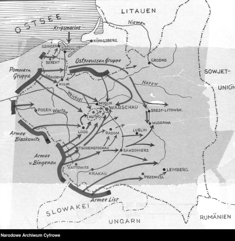 """image.from.unit.number """"Mapa przedstawiająca kierunki natarcia armii niemieckiej na Polskę we wrześniu 1939"""""""